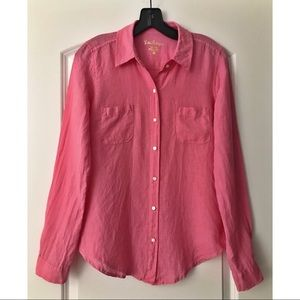 Lilly Pulitzer Tops - Lilly Pulitzer Neon Pink Linen Button Down
